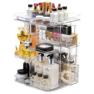 Makeup Organizer 360-Degree Rotating Cosmetic Storage Box - 14.50x9.50x9.50