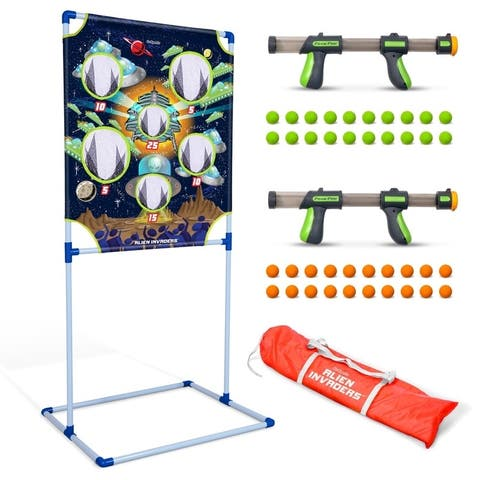 GoSports Foam Fire Alien Invaders Game Set - Includes Target, 2 Toy Blasters and Foam Balls