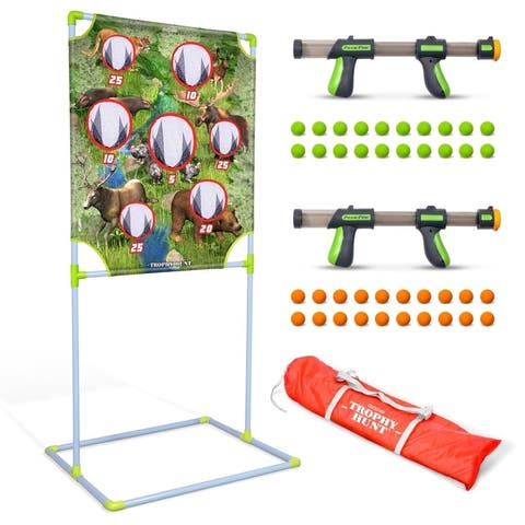 GoSports Foam Fire Trophy Hunt Game Set - Includes Target, 2 Toy Blasters and Foam Balls