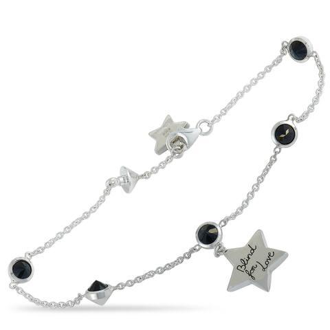 Gucci Blind For Love Sterling Silver and Black Spinel Feline and Star Motif Bracelet Size 16