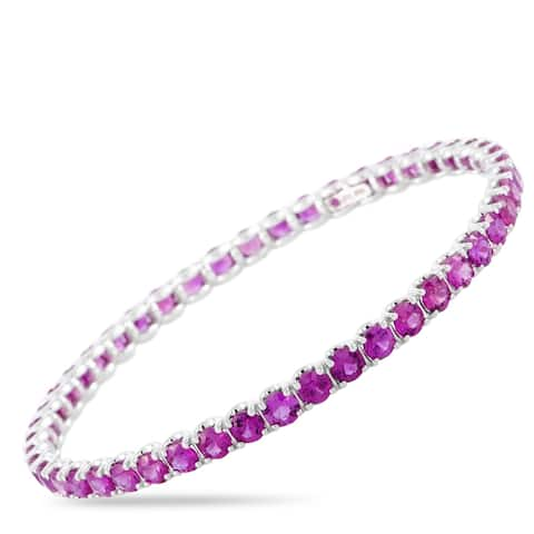 Roberto Coin White Gold and Pink Sapphire Bangle Bracelet