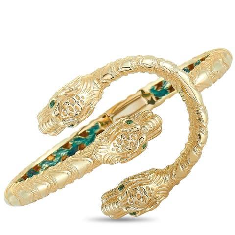 Gucci Dionysus Yellow Gold and Tsavorite Bracelet Size 17