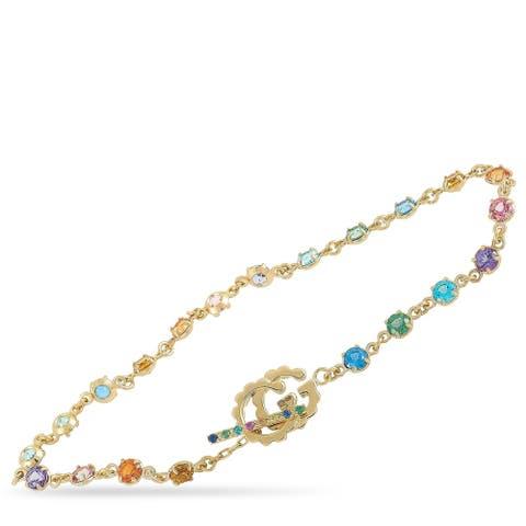 Gucci GG Running Yellow Gold Sapphire, Tsavorite, Topaz and Quartz Bracelet Size 16