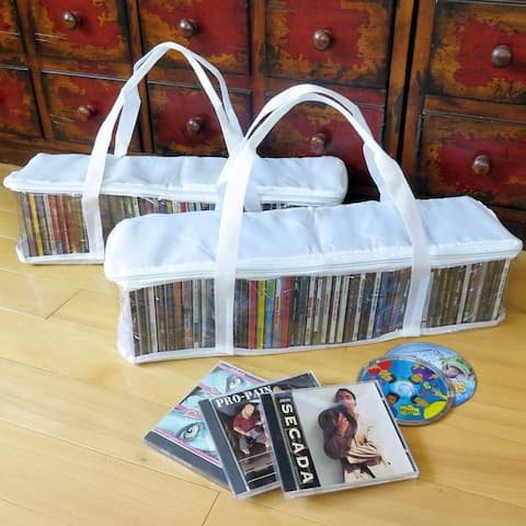 Evelots CD Storage Bag-Zippered-Clear-Handles-Hold 94 CD's Total-White Top-Set/2 - Set of 2