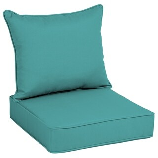 Arden Selections Acrylic Teal Linen Outdoor Deep Seat Cushion Set - 46 in L x 25 in W x 7.5 in H