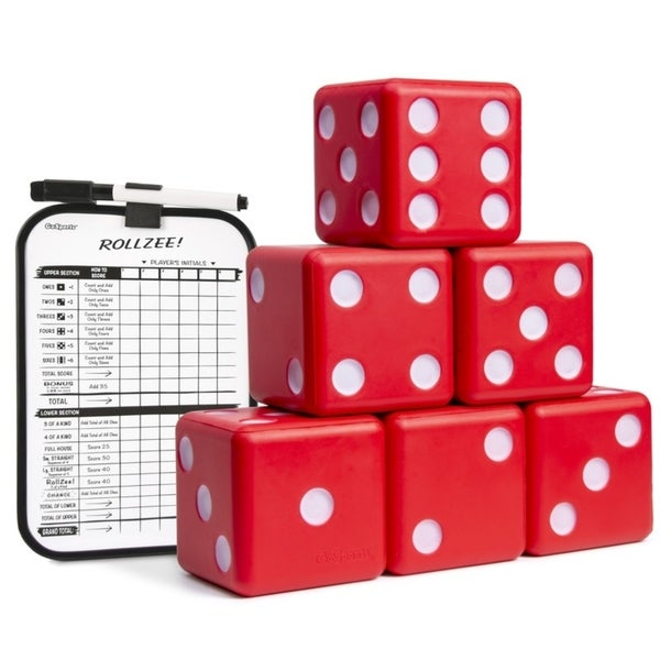 "GoSports Giant 3.5"" Red Foam Playing Dice Set with Bonus Scoreboard (Includes 6 Dice, Dry-Erase Scoreboard and Carrying Case). Opens flyout."