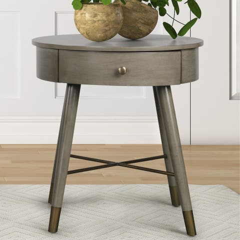 Velsen Mid-century Modern Wood and Metal End Table with Drawer