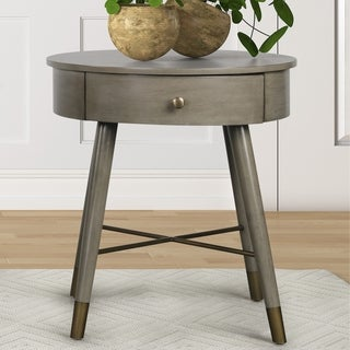 Link to Velsen Mid-century Modern Wood and Metal End Table with Drawer Similar Items in Living Room Furniture