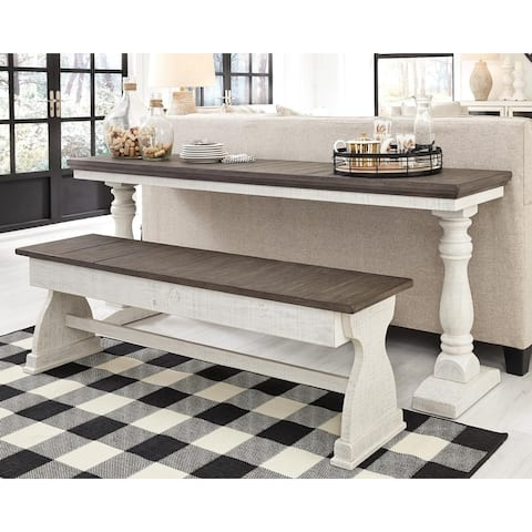 Braelow White/Brown Narrow Table and Bench Set