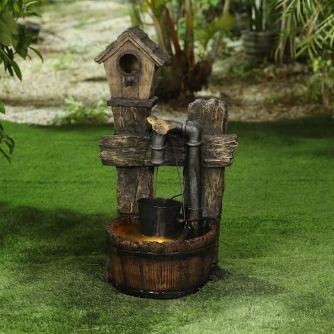 Polyresin Rustic Bird House and Barrel Patio Fountain with LED Lights