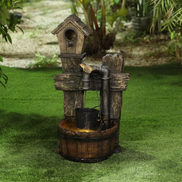 Polyresin Rustic Bird House and Barrel Patio Fountain with LED Lights. Opens flyout.