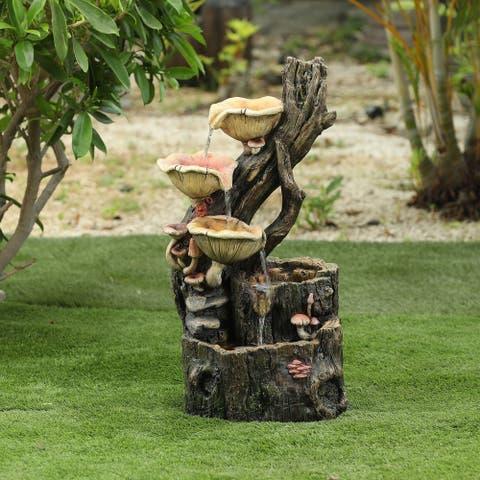 Resin Tree Stump and Mushrooms Outdoor Fountain