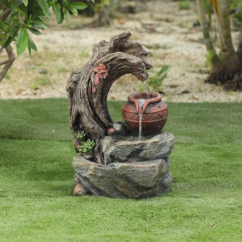 Resin Tree Stump and Rock Outdoor Fountain