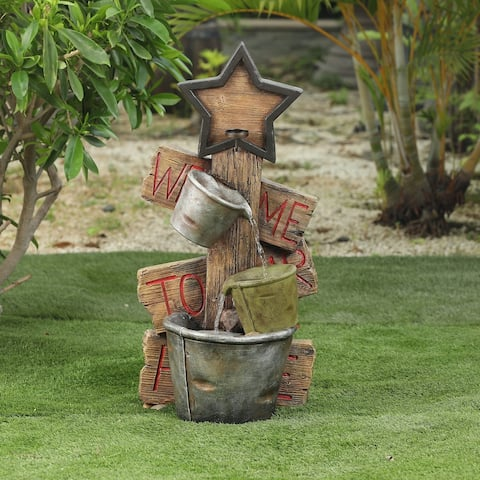 Cement/Polyresin Star and Pots Outdoor Fountain