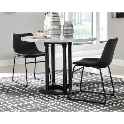 Centiar White/Black Circular Dining Room Table