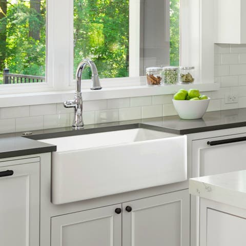 White 30-inch Single Bowl Farmhouse Apron Kitchen Sink