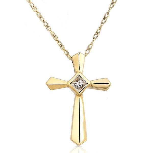 Annello by Kobelli 14k Yellow Gold Diamond Cross Pendant