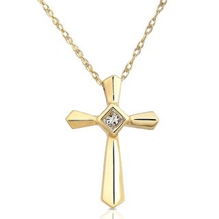 Annello by Kobelli 14k Yellow Gold Diamond Cross Pendant
