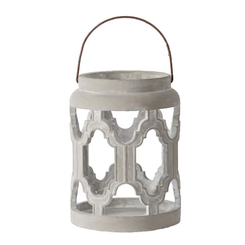 A&B Home Gray Cylindrical Cutout Lantern