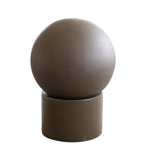 A&B Home Brown Spherical Outdoor Fountain with Pedestal Base