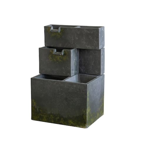 A&B Home Cascading 2-Tier Moss Green Cement Outdoor Fountain with Two Water Spouts