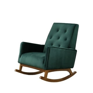 Link to Mid-Century Modern Collin Green Velvet Rocking Chair - 0 Similar Items in Living Room Chairs
