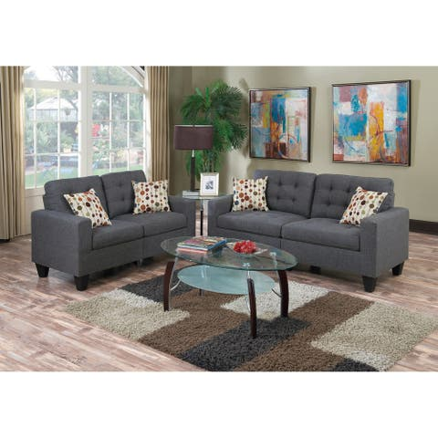 2 Piece Linen-Like Cushioned Fabric Tufted Living Room Set