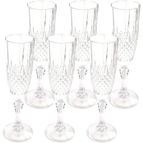 Clear Plastic Champagne Flutes - Set of 6 Beautifully Designed Reusable Unbreakable Shatterproof Glasses - 7oz