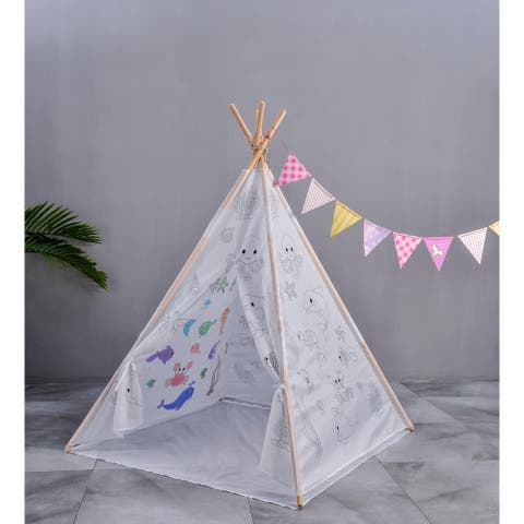 Actual Paintable Teepee Play Tent For Kids