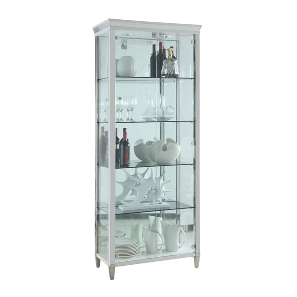 Somette Clear Glass/Polished Stainless Steel Contemporary 2-Door Glass Curio. Opens flyout.