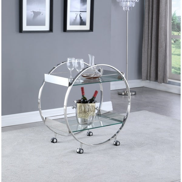 Somette Contemporary Circular Tea Cart with Glass Shelves. Opens flyout.