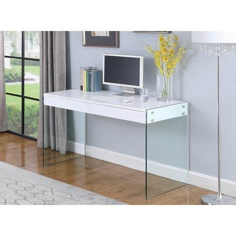 Somette Contemporary Gloss White & Glass Desk
