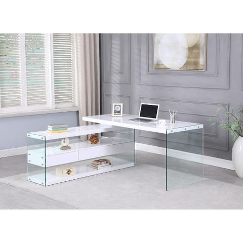 Somette Rotatable Wooden Desk with 3 Drawers