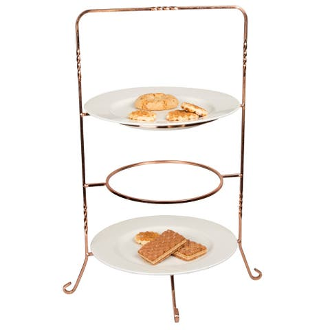 Creative Home Renaissance Copper 3-tier Dinner Plate, Serving Rack