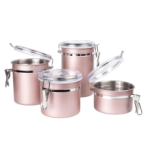 Creative Home 4-Piece Stainless Steel Canister Set, Rose Gold