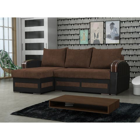 Riverhead Brown Fabric Reversible Sleeper Sectional Sofa with Storage