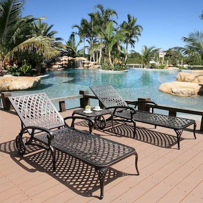 Angsa 3-piece Wheeled Chaise Lounge Chairs and Table Set by Havenside Home
