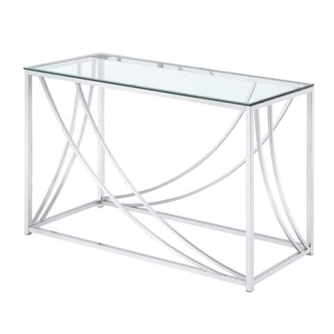 Glass Top Rectangular Sofa Table with Swooping Curves, Clear and Silver