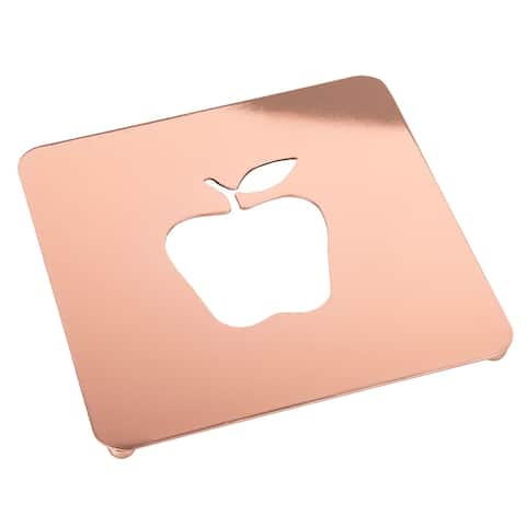 "Creative Home 7.5"" Copper Plated Metal Square Trivet with Apple Motif"