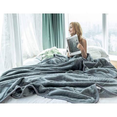 Rose Embossed Blanket for Bed Fleece Blanket Solid Color