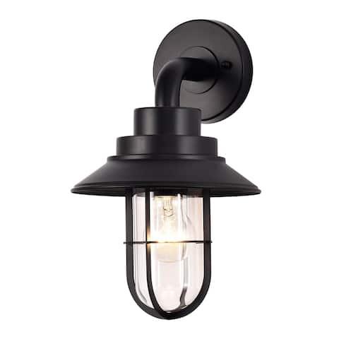 Black 1-Light Armed Sconce Outdoor Barn Light