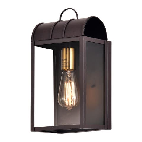 Rusty Finish Metal 1-light Glass Outdoor Wall Lantern