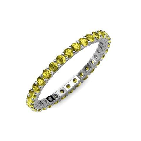 TriJewels Yellow Diamond 1 1/8 ctw Womens Eternity Ring 14KW Gold