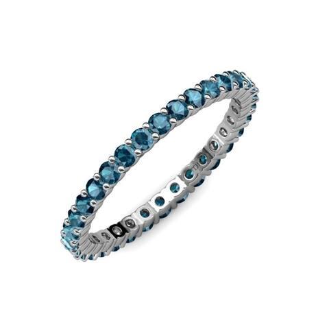 TriJewels Blue Diamond 1 1/8 ctw Womens Eternity Ring 14KW Gold