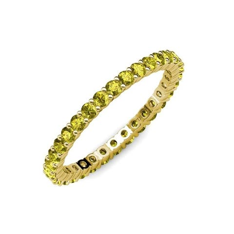 TriJewels Yellow Diamond 1 1/8 ctw Womens Eternity Ring 14KY Gold