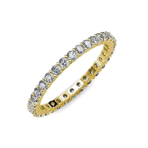 TriJewels Lab Grown Diamond 1 1/8 ctw Womens Eternity Ring 14KY Gold
