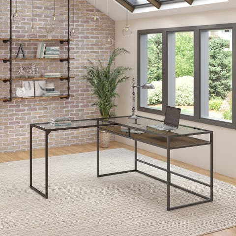 Anthropology 60W Glass Top L Shaped Desk with Shelf by Bush Furniture