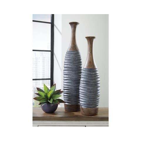 Blayze Antique Gray/Brown Vase - Set of 2