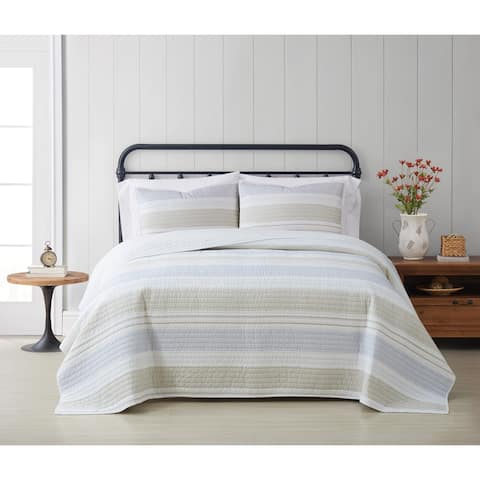 Cottage Classics Spa Stripe 3 Piece Quilt Set