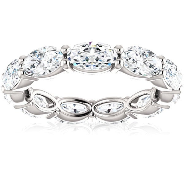 6 Ct Oval Moissanite Eternity Ring 14k White Gold. Opens flyout.